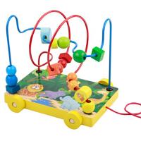 拖拉儿童绕珠串珠婴儿益智力玩具宝宝积木1-2-3周岁