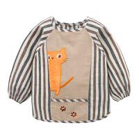 秋冬宝宝罩衣棉水婴儿反穿衣倒褂儿童围裙吃饭衣护衣围兜O 浅蓝色 咖啡色条纹小猫