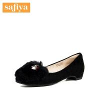 【3折再减80】Safiya/索菲娅秋季新款时尚低跟毛毛奶奶鞋女单鞋SF83111032