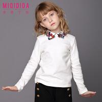 米奇丁当女童休闲长袖上衣新品冬装蝴蝶结领纯色儿童长袖T恤