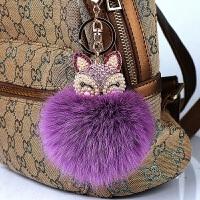 小狐狸毛汽车钥匙挂件创意手机包女士毛绒公仔可爱钥匙扣甜美