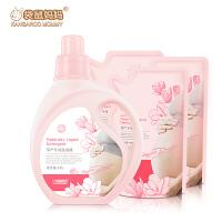 袋鼠妈妈 孕妇洗衣液1.1L*1瓶+500ml*3补充装 衣物清洁剂
