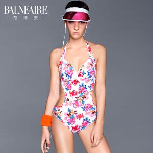 范德安小胸聚拢连体泳衣女 性感显瘦修身碎花游泳衣保守遮肚泳装
