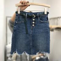 大码女装胖妹妹胖MM修身藏肉流苏高腰包臀破洞牛仔短裙半身裙女 蓝色