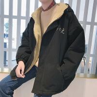 秋冬季刺绣chic羊羔毛外套男加绒加厚风衣韩版潮学生宽松工装夹克
