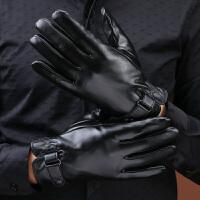 新款触屏皮手套男士冬保暖加绒手套男骑行加厚防水防寒防风摩托车手套