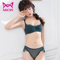 猫人(MiiOW)法式薄款文胸性感内衣女聚拢小胸半杯上托少女蕾丝文胸套装 WN5022