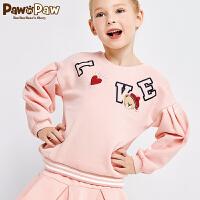 【3件4折 到手价:183】Pawinpaw宝英宝卡通小熊童装女童圆领可爱休闲卫衣儿童套头衫