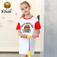 【4折价:95.6】B.duck小黄鸭童装女童短袖T恤夏装新款儿童中长款上衣BF2001956