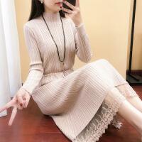 2018春装新款针织连衣裙女半高领毛衣纯色系带蕾丝长裙过膝打底衫