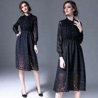 秋装女新款秋冬长袖修身蕾丝连衣裙名媛黑色打底裙中长款裙子