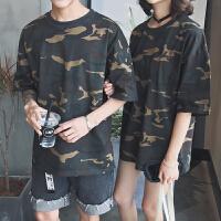 美丽的脏店夏装新品日系潮流情侣T恤军事风宽松迷彩短袖tee体恤衫