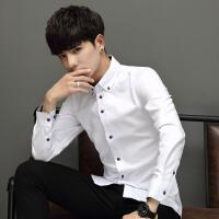 纯色男修身韩版男衬衫新款青年男士衬衫长袖衬衣休闲上班修身衣服