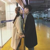 情侣装毛呢大衣中长款风衣男士秋季呢子外套韩版潮流2018新款冬季