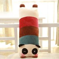 可爱卡通熊猫公仔娃娃单双人枕头毛绒玩具玩偶抱枕生日礼物 圆眼棕色脚丫 熊猫