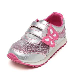 Shoebox鞋柜透气蝴蝶搭攀女童公主风运动鞋旅游鞋网面儿童鞋