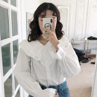 春装2018新款女韩版V领荷叶边喇叭袖长袖衬衫学院风气质娃娃衫潮