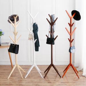 门扉 衣帽架 简约创意树形实木衣帽架落地时尚客厅卧室衣服架包架落地挂衣架