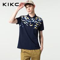 kikc短袖Polo衫男2018夏季新款韩版舒适印花潮学生休闲T恤上衣男