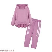 冬季秋季女童套装2018新款春秋装时尚洋气时髦卫衣韩版两件套宽松长袖秋冬新款 紫色