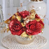 欧式假花玫瑰装饰花插花绢花盆栽茶几餐桌客厅摆件仿真花装饰花瓶