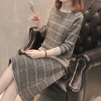 2018春装中长款格子毛衣女士两件套韩版长袖打底衫针织洋气套装裙