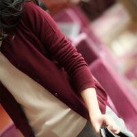 2018秋新款针织开衫女短款韩版圆领薄毛衣修身外套显瘦打底羊绒衫
