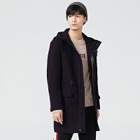 gxg.jeans男装冬季紫色羊毛拉链门襟长款连帽毛呢大衣潮64626182