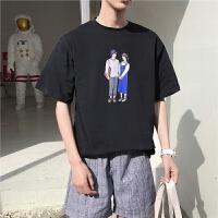 韩版夏季情侣短袖t恤男百搭宽松半袖体恤2018新款圆领上衣服潮流