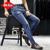 Lee Cooper春夏新款牛仔裤男修身小脚潮流长裤潮牌直筒刮烂商务男式牛仔裤