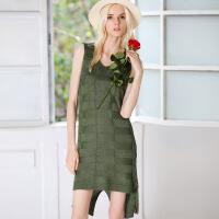 Allrma新款金丝线无袖连衣裙 欧美风大码女装