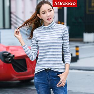 SOOSSN 2018秋装新款修身针织衫条纹打底衫女韩版长袖百搭高领T恤6070
