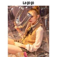 Lagogo2018冬季新款蕾丝雪纺打底衫长袖衬衫女上衣HCCC438G73