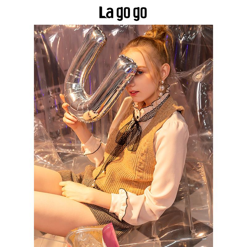 Lagogo2019冬季新款蕾丝雪纺打底衫长袖衬衫女上衣HCCC438G73