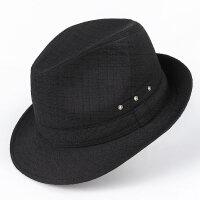帽子男春夏季礼帽男士帽子遮阳防晒亚麻中老年人爵士帽秋天老人帽