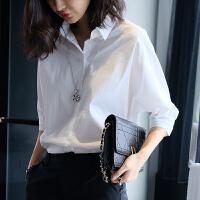 白色立领衬衣女士休闲蝙蝠袖衬衫女宽松2018春季新款