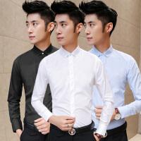 2017男新款韩版商务纯色衬衣男款寸衫修身男长袖衬衫白领职业正装