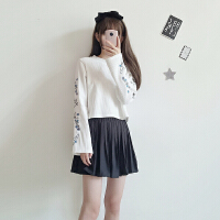 春装韩版花朵刺绣喇叭袖长袖短款套头卫衣新款学生外套上衣女