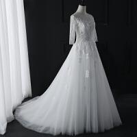 婚纱礼服2018新款韩版新娘结婚一字肩长袖蕾丝拖尾显瘦齐地春季女
