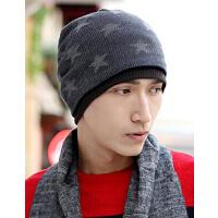 星星双面保暖护 户外男士女针织毛线帽 耳堆堆套头帽子冬天季韩版潮