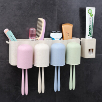 卫生间用品用具家用洗手间梳子置物架化妆品牙刷杯子架浴室收纳架 带挤牙膏器