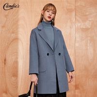 【开学季 2.5折到手:304】呢子大衣女拉夏贝尔冬季新款宽松简约外衣羊毛双面呢毛呢外套