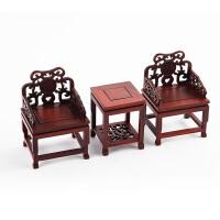 创意文房摆件三件套小桌子小椅子文镇红木镇纸套装文房四宝收藏手把玩摆件雅具仿古中国风木器