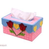 立体绣3D十字绣新款客厅家居手工抽纸巾盒毛线绣钻石画 粉色,免剪裁,两朵玫瑰两件9折