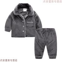 男童睡衣冬加厚珊瑚绒婴儿套装冬装新生儿衣服冬季宝宝居家服保暖
