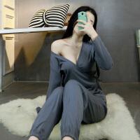 日式和服睡衣女夏短袖纯棉性感两件套宽松哺乳可爱家居服夏季套装 深灰色V领和服 【长袖】