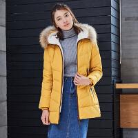 雅鹿时尚棉花绒保暖羽绒服女中长款 修身加厚大毛领显瘦冬装外套