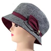老年人女士帽子春秋季妈妈时装帽中老人帽奶奶女秋中年布帽盆礼帽