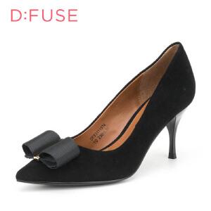 【星期六集团大牌日】迪芙斯(D:FUSE)女鞋 绒面羊皮革细跟尖头时尚女单鞋 DF63111074