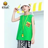 【3折价:59.7】B.duck小黄鸭童装男童背心2020新款无袖T恤儿童夏季纯棉薄款上衣BF2105901